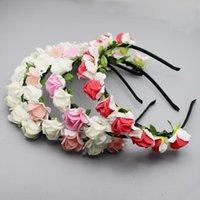 신부 헤어 밴드를위한 10PCS / 부지 웨딩 신부 머리 장식 여성 헤어 액세서리 PE 로즈 헤어핀 인공 꽃 손으로 만든 모자