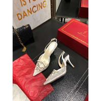 Qualidade Oficial Rene Caovilla Rc sandálias de dedo Pointed Studs Rebites Rhinestone cristal malha Sandals 75 milímetros salto bling bling Shoes