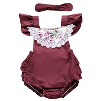 Everweekend Ins infant Girls Lace Flower Bow Ruffles Abiti estivi Backless Fly Sleeve Holiday Neonato New Pagliaccetti