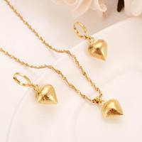 Скраб Сердце Ювелирные наборы Классическая ожерелья кулон серьги Fine Gold Filled Приданое Арабскую / Африка Свадьба невесты