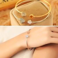 Pulsera de la pulsera del brazalete de diamante abierto del manguito Corazón de Cristal pulsera encanto del amor de la nueva llegada para el regalo de las mujeres