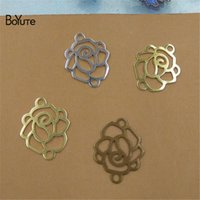 BoYuTe (100 조각 / 많은) 14 * 17MM 금속 브래스 각인 꽃 로즈 커넥터 매력 Diy 손으로 만든 보석 액세서리