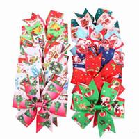 Рождество девочки заколки ласточкин хвост Xmas заколки лук с зажимом дети аксессуары для волос дети Санта-Клаус печати заколки