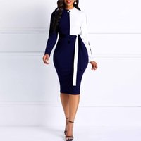 Femmes Sexy Robe Moulante Printemps 2019 Blanc Bleu Patchwork À Lacets Mince Bureau Dames Travail Party Simple Élégant Crayon Robes