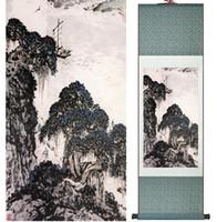 Pintura de paisagem Em Casa Escritório Decoração Pintura De Rolagem Chinesa Montanha E Rio Paintingprinted Pintura050505