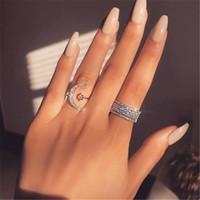 نجمة القمر اليدوية وعد خاتم الماس 100٪ ريال 925 فضة خطوبة زفاف باند الطوق للنساء الرجال حزب مجوهرات