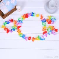 Establece 4pcs Garland de Hawaii Hula Carnival niños del juego de la cabeza de flor del anillo de la pulsera de los niños de la ropa de rendimiento del Día del vestido maxi 1 9