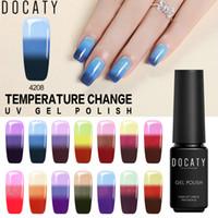 Docaty 7ml Nail polacco del gel Soak Off semi-permanente di vendita caldi della temperatura cambiare i colori per arte del chiodo del manicure ibrida