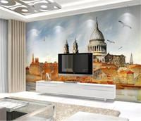 La foto de encargo del papel pintado 3d pintado a mano de estilo europeo de tinta antigua arquitectura del paisaje de la sala dormitorio decoración de la pared del fondo de Wal