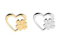 2019 New Fashion Silver Gold Color Love Heart Paw Zapper Pin Pin Pet Paw Stampa perdita di animali domestici e animali domestici Pin Memorial Pin Gioielli Dog Cat Lover Regali