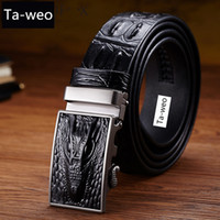 New Fashion Business Belt Men's Belts  Genuine Leather Crocodile Striped Belt Men Designer Belts Men High Quality