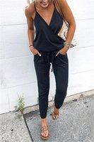 pantaloni jogger Scollo a V Backless Strappy tuta Solid Lace colore vita del legame di lungo siamesi Pantaloni abbigliamento donna a volontà e di sabbia nera