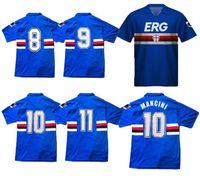 1990 camisas de futebol 1992 Sampdoria Retro 90 91 92 UC Sampdoria camisa clássica do vintage camisa de futebol Mancini Vialli Cerezo Attilio Lombardo
