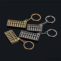 6 arquivos 8 arquivos ábaco anel chave de metal Chinês vento ouro prata ábaco Calculadora chaveiros chaveiros pingente Chaveiro Carro Charme ST692