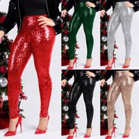 HISIMPLE 2019 Sequins Red Christmas Party Pants with Comfortable Lining High Waist Pencil Pants Solid Sexy Night Club Trousers Best Gifts