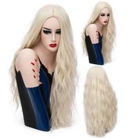 70 CM Lange Rosa Wellenförmige Perücken Cosplay Natürliche Synthetische Frauen Blonde Perücke 29 Farben Volle Hitzebeständige Haar