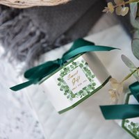 Hexagonal green Eucalyptus leaves Candy Boxes Wedding Favors...