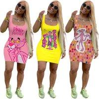 Frauen-Karikatur-Kleid pink panther Miniröcke Ärmel festen Farbe dünne Kleider Sommerkleidung Mode Street sexy Clubwear 3139