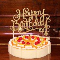 Vier-Farben-Kristall Strass Shiny Happy Birthday Cake Topper Jahrestag Kindergeburtstag-Party-Dekor-Kuchen-Deckel LX1789