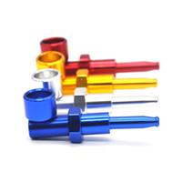 Großhandel kreativer beweglicher Filter Zigarettenspitze Aluminiumlegierung Smoking Pipes Super Mini Kleine Rauchpfeifen 4 Farben DH0663