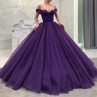 코르셋 플러스 사이즈 공식 파티 파티 드레스를 입을 어깨 바닥 길이 레이스 오프 패션 보라색 볼 가운 성인식 드레스