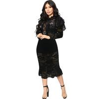 Sexy eleganter Mode-Frühling-hohe Ansatz Petal mit langen Ärmeln Rüschen Sheer durchschaut Bodycon Black Lace Mid Länge Midi-Kleider Pause Kleidung