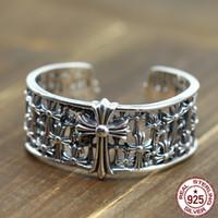 100% серебро S925 мужской браслет личность мода ретро панк-стиль властный крест форма, чтобы отправить подарок любви