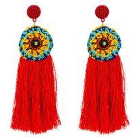 Orecchini etnici lunghi dorati dell'annata del cerchio del nappa femminile Maxi cotone di seta filo di seta Bohe grandi orecchini di perle del fiore per il regalo dei monili delle donne