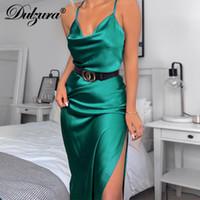 Dulzura raso di seta delle donne midi cinghia vestito fessura del lato sexy backless streetwear 2019 vestiti di partito autunno inverno cena elegante