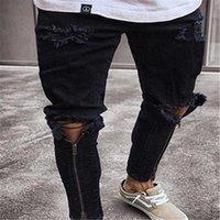 Para hombre de la cremallera de los pantalones vaqueros agujeros Diseñador Negro rasgado Slim Fit Represen lápiz de los pantalones