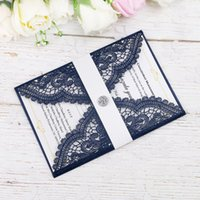 New Elegant Laser Cut Navy Blue Invitations Cards With Cryst...