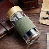 Bottiglie di vetro ispessita 350ML bicchiere d'acqua resistente al calore rotonda Ufficio Coppa auto con tè dell'acciaio inossidabile del setaccio di Infuser Tumble EEA864-1