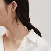 여성 고트 쥬얼리 팜므 Brincos 펑크 귀걸이 대나무 스터드 기하학적 귀걸이 빈티지 브랜드 귀걸이 고딕 금속 링크 체인 귀걸이