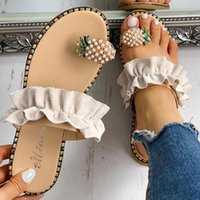 Mulheres Chinelo abacaxi Pérola Plano Toe Bohemian Casual Praia Sandálias Ladies Shoes Plataforma Designer Preto Drop Ship Slides