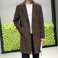 XIU LUO 2019 Winter Fashion Men Wool Blends Cashmere Coat Lo...