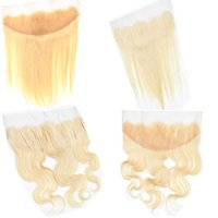 613 Blonde Russian Human Hair Free Part Lace Frontal Closure...