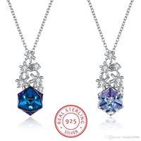 Swarovski Eleman S925 Gelen kristaller Gümüş Sıcak Stil Noel Kar Tanesi Kare Fantezi Renk Kristal Kişilik Kolye Kolye
