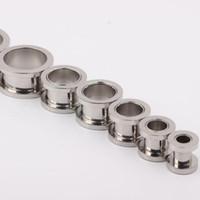 100pcs / lot mix 2-10mm gioielli economici ~ in acciaio inox vite tappi per le orecchie carne tunnel penetrante gioielli per il corpo