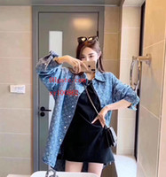 2019 여성 캐주얼 긴 소매 느슨한 블라우스 옷깃 데님 셔츠 코트 여성 턴 다운 칼라 일반 여성 의류