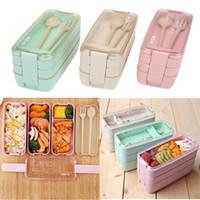 900 мл 3 слоев Bento Box Eco-Friendly Lunch Box Пищевая контейнер пшеницы соломенный материал Микроволновая печь на обед