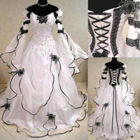 Vintage Plus Size Gothic A Line Wedding Dresses With Long Sl...