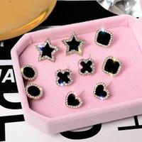 Coreano 3A + preto Cubic Zirconia pequeno brincos para mulheres Coração Flor redonda estrela Clover brincos moda jóias
