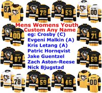 Pittsburgh Penguins Jerseys Womens Sidney Crosby Jersey Jake Guentzel Patric Hornqvist Letang Evgeni Malkin Hockey camisas personalizadas costurado