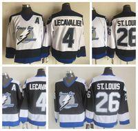 Moda Tampa Bay Lightning Retro Jerseys 26 Martin St. Louis Jerseys 4 Vincent LecavalierVintage Mens costurado Throwback Hockey Jerseys