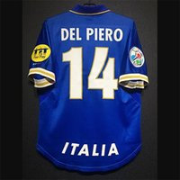 Retro Italy Soccer Jerseys Titti Pirlo Baggio Baggio Inzaghi del Piero Cannavaro Maldini NestA Baresi Vieri Vintage Italia Kit Camicia classica