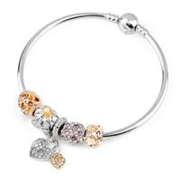 Charme Beads Bracelets Diamant Coeur Pendentif Bracelet Charm Pandora Gold Perle en tant que cadeau Bijoux de bricolage avec logo