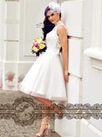 Elegant vit spets tulle kort te längd milla nova bröllopsklänningar hög nacke afrikansk nigerianska spets klänning brudklänningar h073