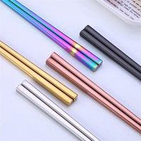 Hot Glossy Titanium banhado a ouro Chopsticks, aço inoxidável colorido Chopsticks Rose Gold Black Rainbow Praça Chopsticks 110pair T1I825
