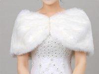 Nupcial Xaile marfim / revestimento branco da pele do falso Bridesmaids Cape Vestido Prom envoltório de casamento roubou