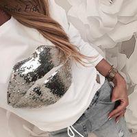 하라주쿠 스팽글 립 패치 워크 여성 캐주얼 화이트 티 셔츠 풀오버 탑스 2020Femme 롱 슬리브 o 넥 점퍼 Streetwear G1113